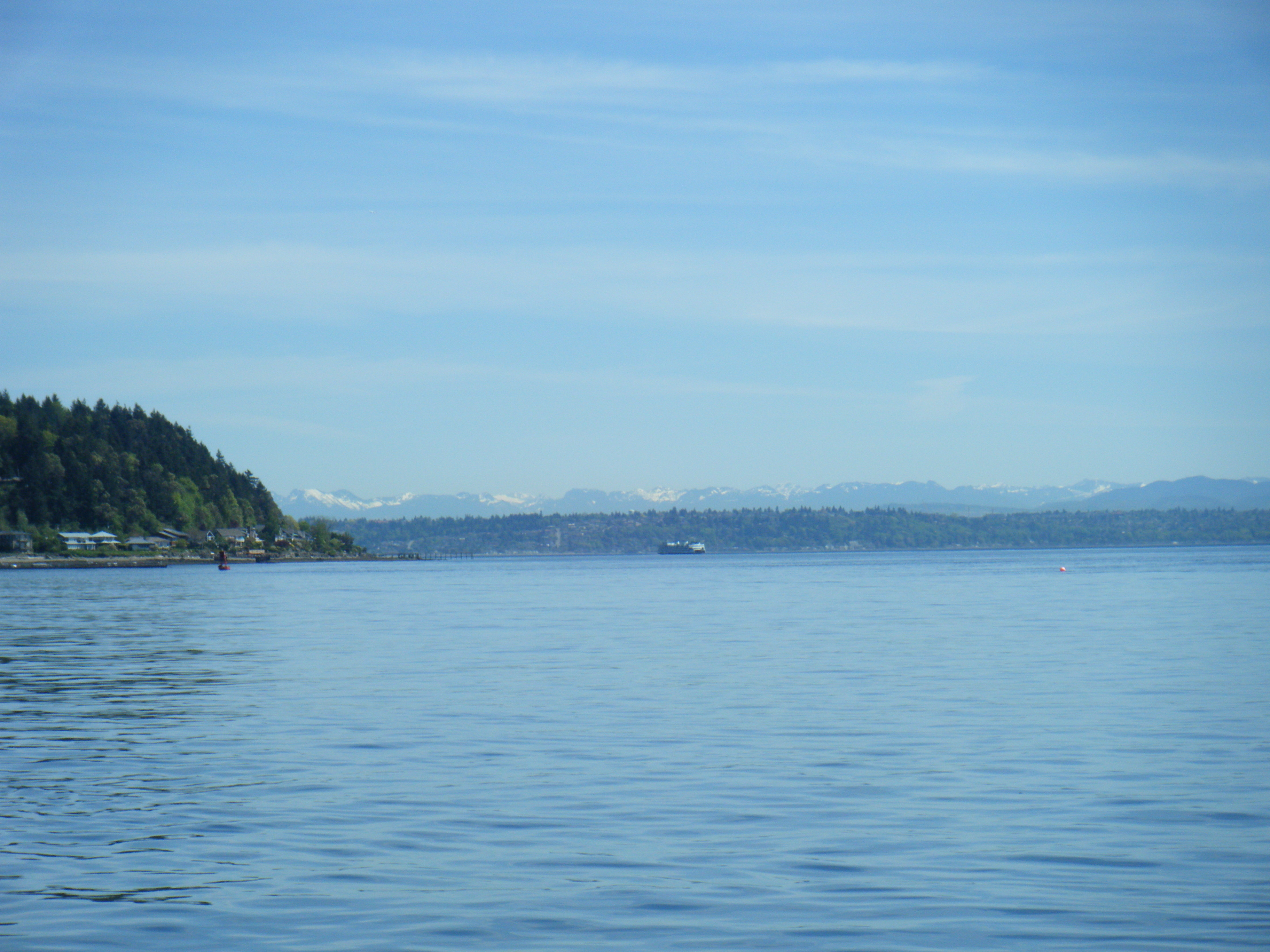 Ferry on the Puget Sound on a warm sunny day.